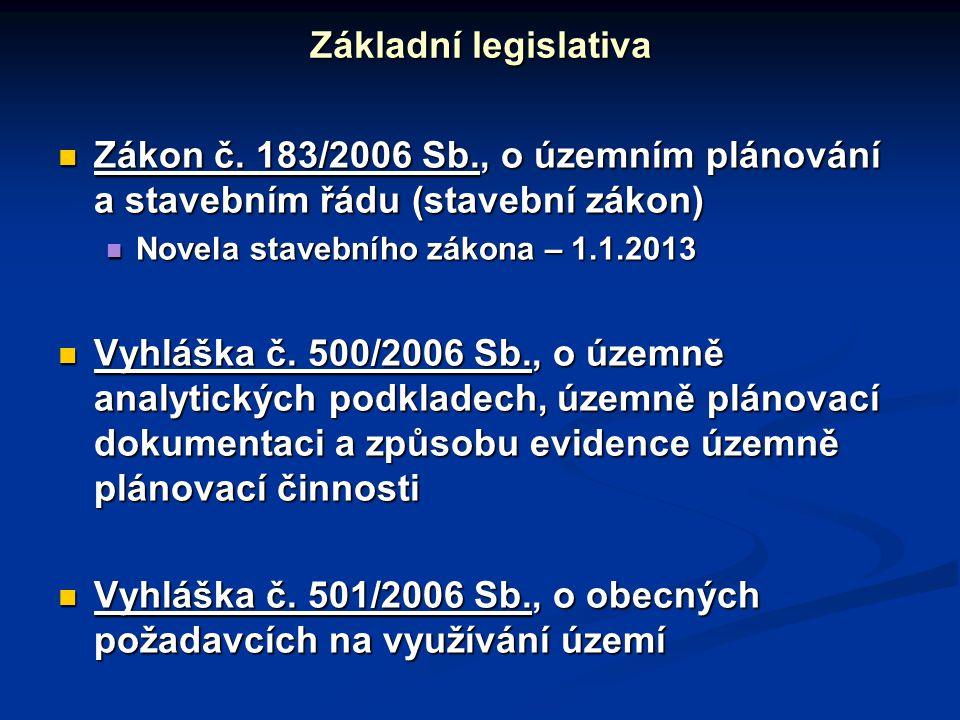 Zákon č.183/2006 Sb., o územním plánování a stavebním řádu (stavební zákon) Zákon č.