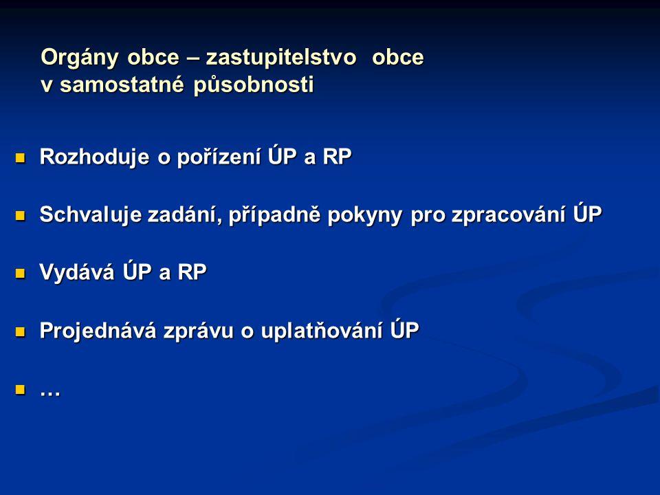 Orgány obce – zastupitelstvo obce v samostatné působnosti Rozhoduje o pořízení ÚP a RP Rozhoduje o pořízení ÚP a RP Schvaluje zadání, případně pokyny pro zpracování ÚP Schvaluje zadání, případně pokyny pro zpracování ÚP Vydává ÚP a RP Vydává ÚP a RP Projednává zprávu o uplatňování ÚP Projednává zprávu o uplatňování ÚP …