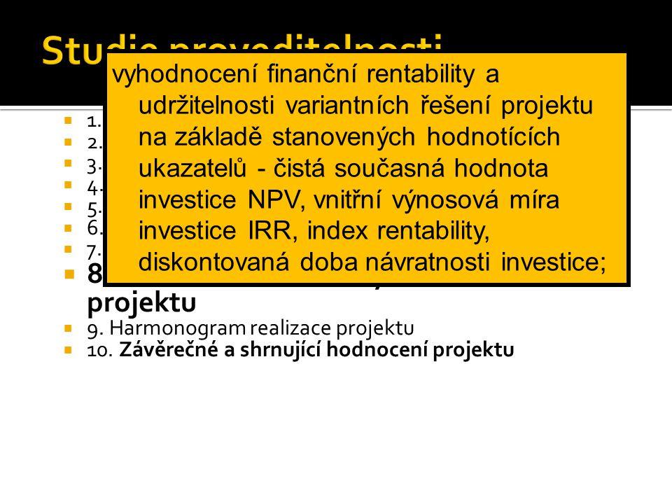  1. Rekapitulace výsledků studie  2. Současný stav a historie projektu  3. Analýza trhu a koncepce marketingu  4. Materiálové dodávky pro zajištěn