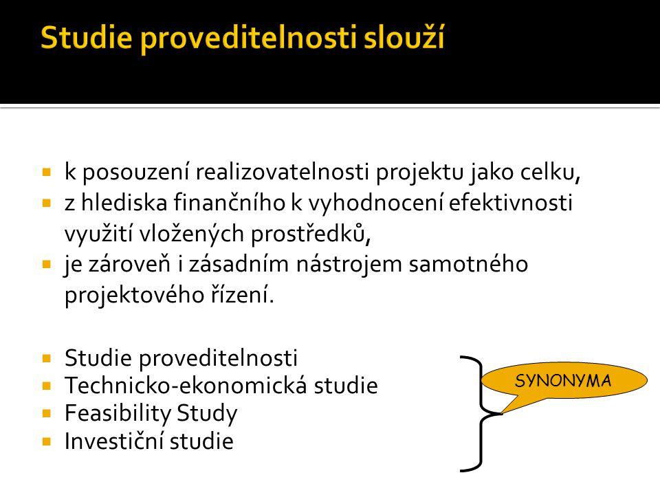  k posouzení realizovatelnosti projektu jako celku,  z hlediska finančního k vyhodnocení efektivnosti využití vložených prostředků,  je zároveň i z
