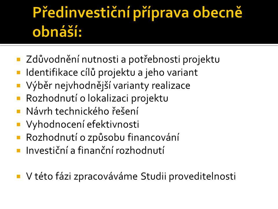  1.Rekapitulace výsledků studie  2. Současný stav a historie projektu  3.