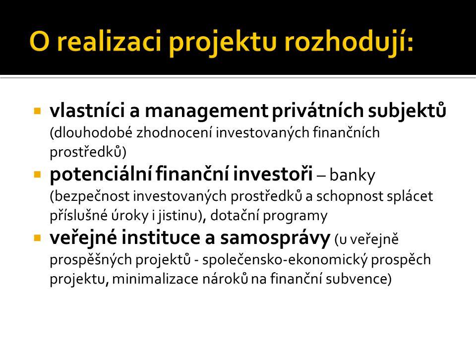 vlastníci a management privátních subjektů (dlouhodobé zhodnocení investovaných finančních prostředků)  potenciální finanční investoři – banky (bez
