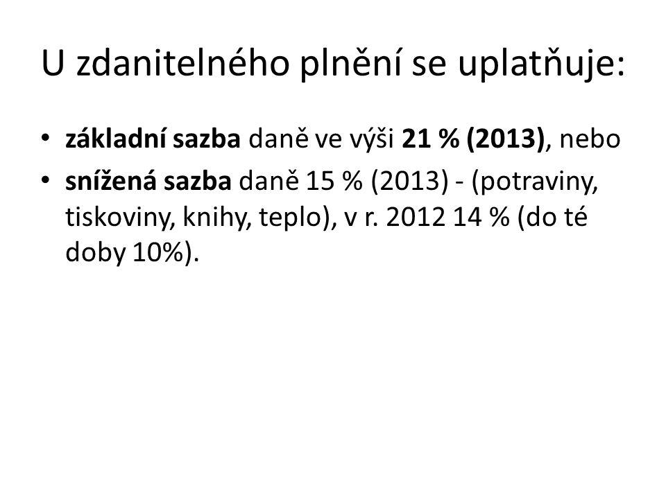 U zdanitelného plnění se uplatňuje: základní sazba daně ve výši 21 % (2013), nebo snížená sazba daně 15 % (2013) - (potraviny, tiskoviny, knihy, teplo), v r.
