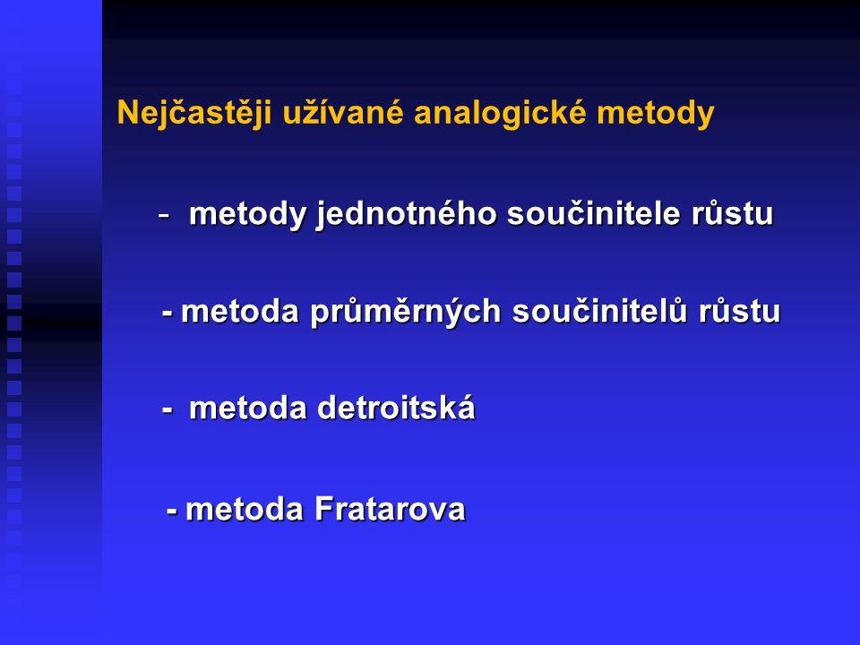 Nejčastěji užívané analogické metody - metody jednotného součinitele růstu - metody jednotného součinitele růstu - metoda průměrných součinitelů růstu