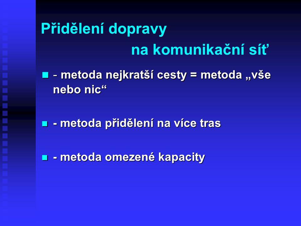 """Přidělení dopravy na komunikační síť - metoda nejkratší cesty = metoda """"vše nebo nic"""" - metoda nejkratší cesty = metoda """"vše nebo nic"""" - metoda přiděl"""