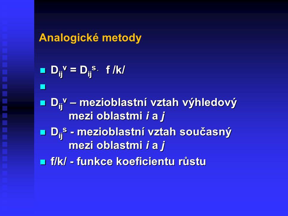 Analogické metody D ij v = D ij s ּ f /k/ D ij v = D ij s ּ f /k/ D ij v – mezioblastní vztah výhledový mezi oblastmi i a j D ij v – mezioblastní vzta