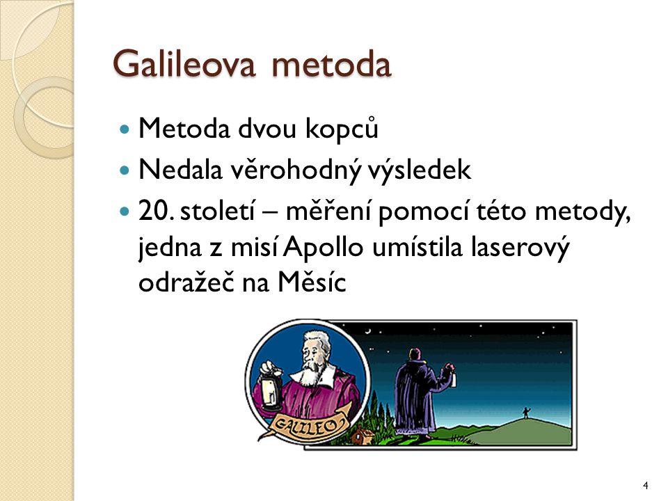 Galileova metoda Metoda dvou kopců Nedala věrohodný výsledek 20. století – měření pomocí této metody, jedna z misí Apollo umístila laserový odražeč na