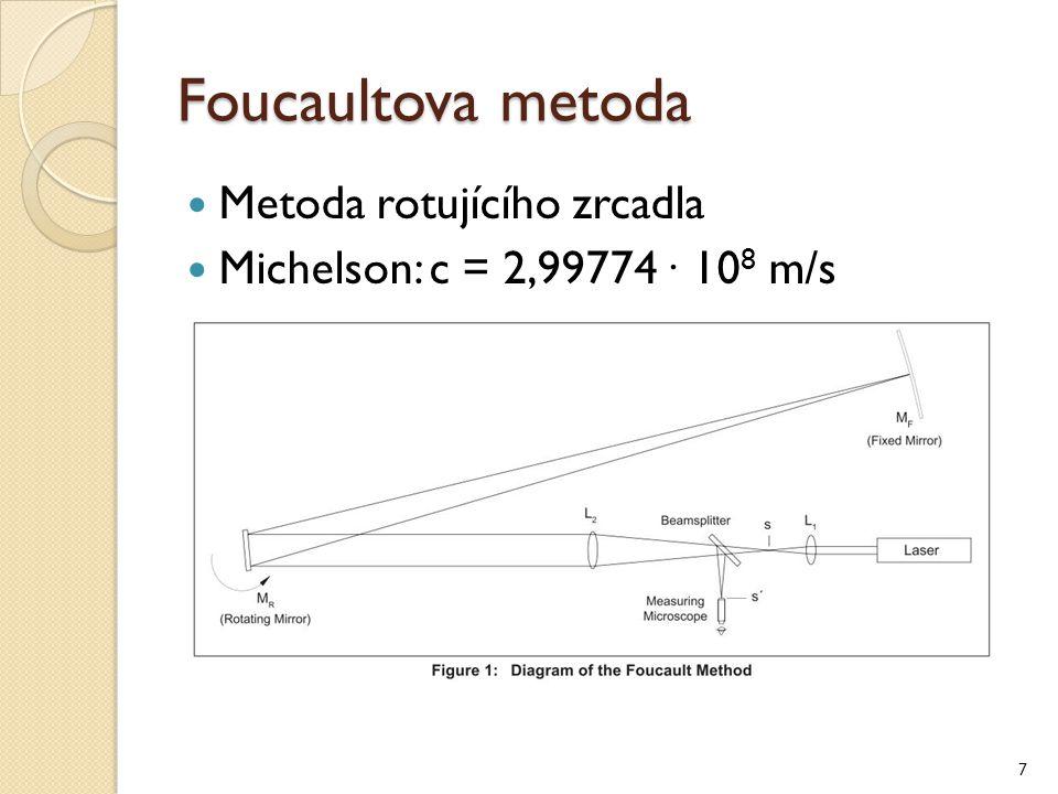 Foucaultova metoda Metoda rotujícího zrcadla Michelson: c = 2,99774 ∙ 10 8 m/s 7
