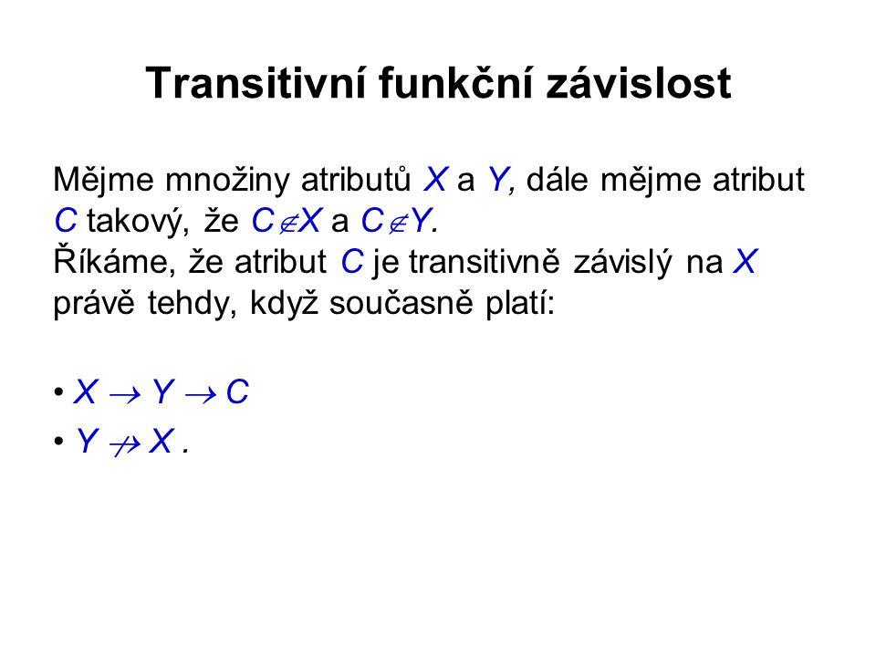 Transitivní funkční závislost Mějme množiny atributů X a Y, dále mějme atribut C takový, že C  X a C  Y.