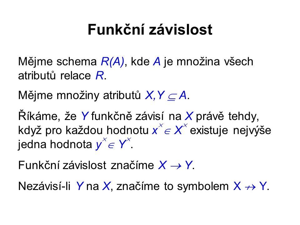 Funkční závislost Mějme schema R(A), kde A je množina všech atributů relace R. Mějme množiny atributů X,Y  A. Říkáme, že Y funkčně závisí na X právě