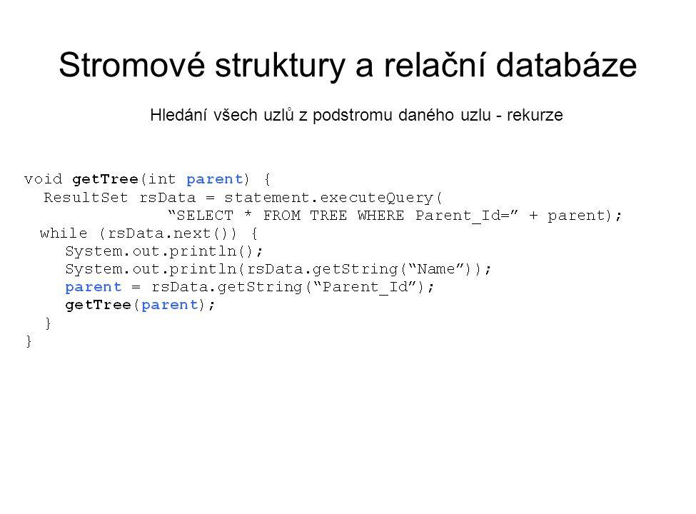 Stromové struktury a relační databáze Hledání všech uzlů z podstromu daného uzlu - rekurze