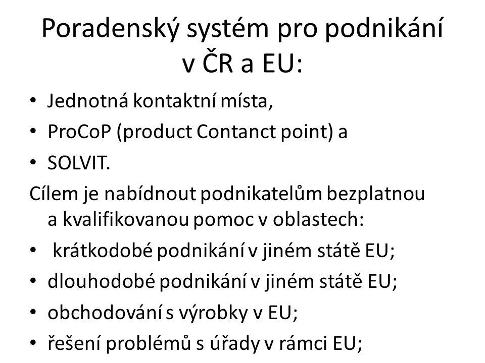 Poradenský systém pro podnikání v ČR a EU: Jednotná kontaktní místa, ProCoP (product Contanct point) a SOLVIT. Cílem je nabídnout podnikatelům bezplat