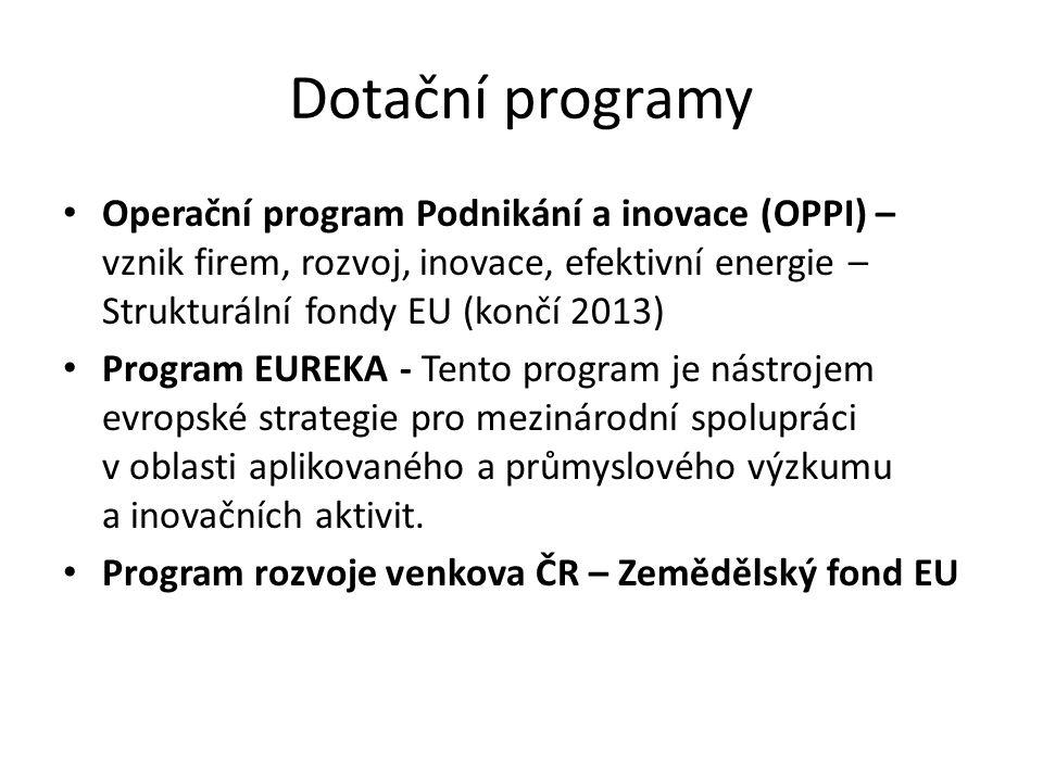 Dotační programy Operační program Podnikání a inovace (OPPI) – vznik firem, rozvoj, inovace, efektivní energie – Strukturální fondy EU (končí 2013) Pr