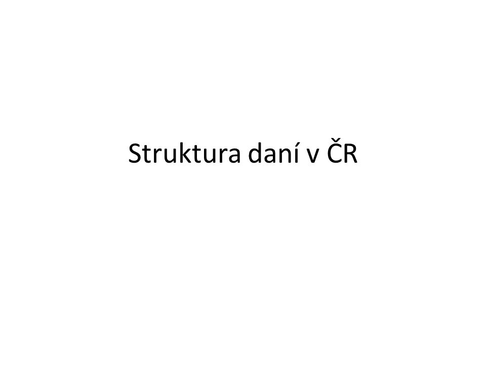 Soustava daní v ČR