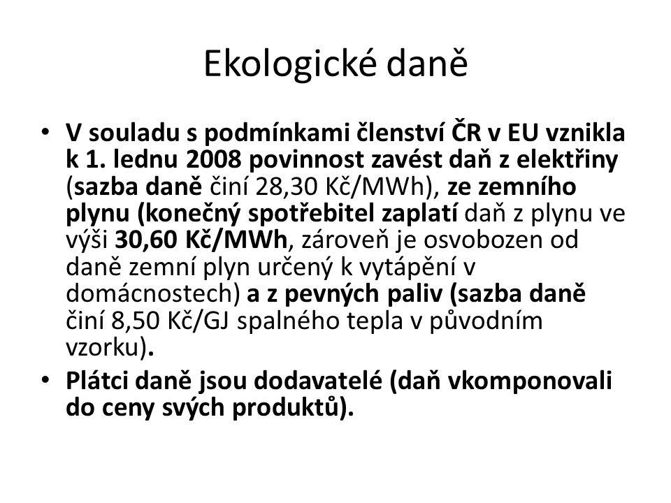 Ekologické daně V souladu s podmínkami členství ČR v EU vznikla k 1.