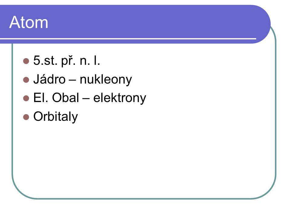 Atom 5.st. př. n. l. Jádro – nukleony El. Obal – elektrony Orbitaly