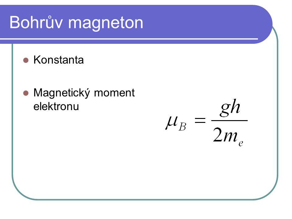 Bohrův magneton Konstanta Magnetický moment elektronu