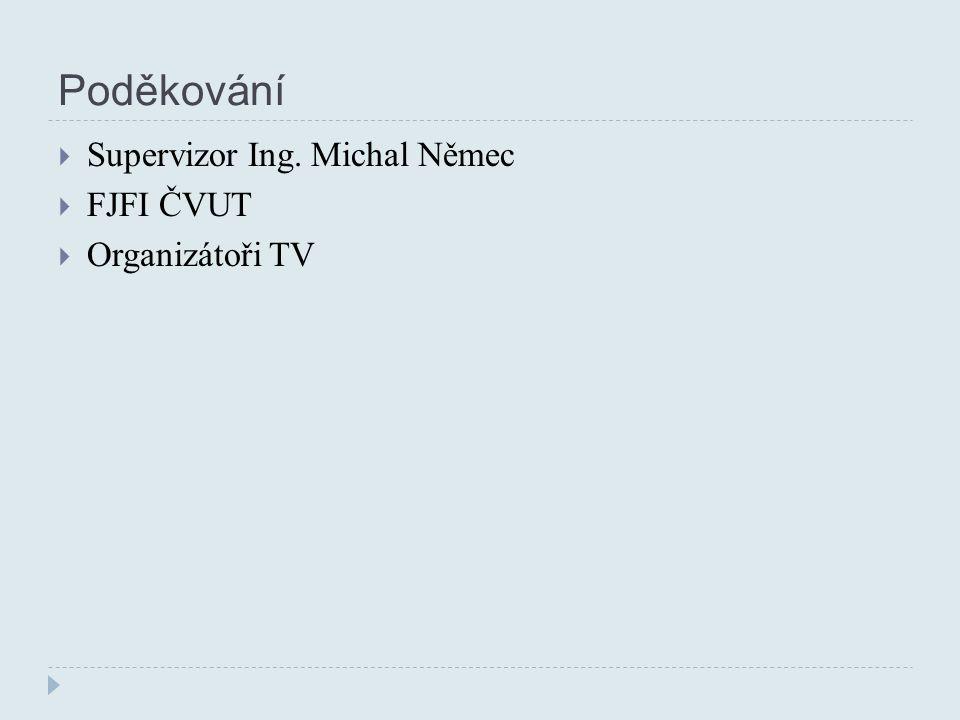 Poděkování  Supervizor Ing. Michal Němec  FJFI ČVUT  Organizátoři TV