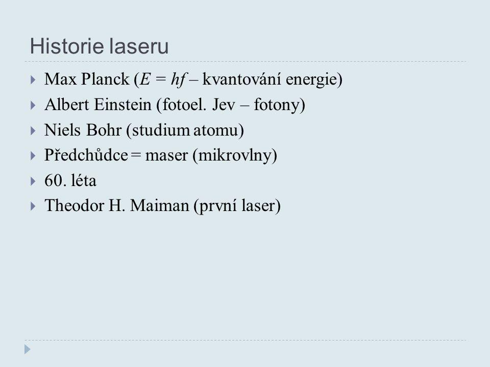 Historie laseru  Max Planck (E = hf – kvantování energie)  Albert Einstein (fotoel.