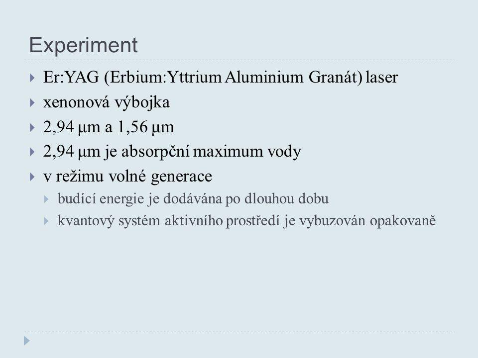 Experiment  Er:YAG (Erbium:Yttrium Aluminium Granát) laser  xenonová výbojka  2,94 μm a 1,56 μm  2,94 μm je absorpční maximum vody  v režimu volné generace  budící energie je dodávána po dlouhou dobu  kvantový systém aktivního prostředí je vybuzován opakovaně