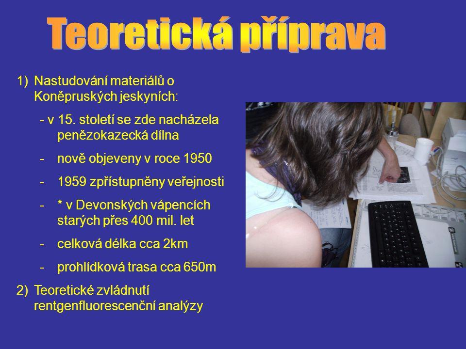 1)Nastudování materiálů o Koněpruských jeskyních: - v 15. století se zde nacházela penězokazecká dílna -nově objeveny v roce 1950 -1959 zpřístupněny v