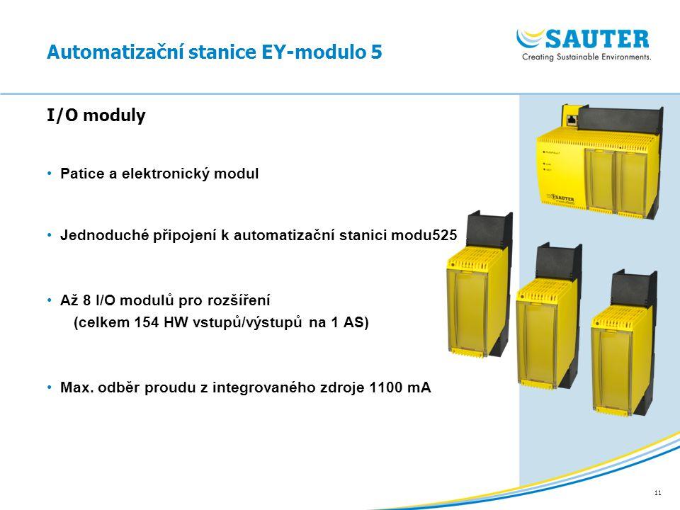 11 Patice a elektronický modul Jednoduché připojení k automatizační stanici modu525 Až 8 I/O modulů pro rozšíření (celkem 154 HW vstupů/výstupů na 1 A