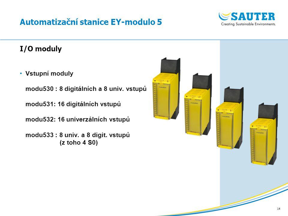 14 Vstupní moduly modu530 : 8 digitálních a 8 univ. vstupů modu531: 16 digitálních vstupů modu532: 16 univerzálních vstupů modu533 : 8 univ. a 8 digit