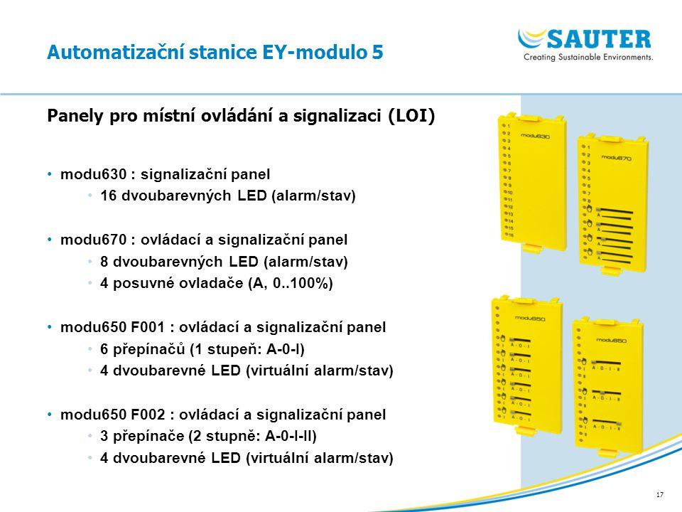 17 modu630 : signalizační panel 16 dvoubarevných LED (alarm/stav) modu670 : ovládací a signalizační panel 8 dvoubarevných LED (alarm/stav) 4 posuvné o