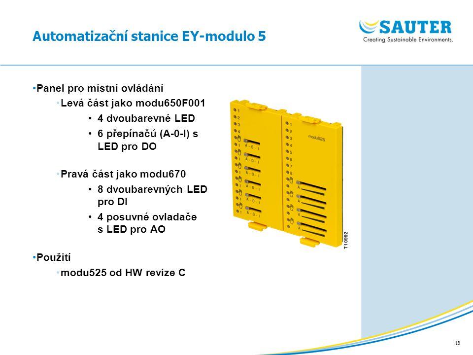18 Panel pro místní ovládání Levá část jako modu650F001 4 dvoubarevné LED 6 přepínačů (A-0-I) s LED pro DO Pravá část jako modu670 8 dvoubarevných LED