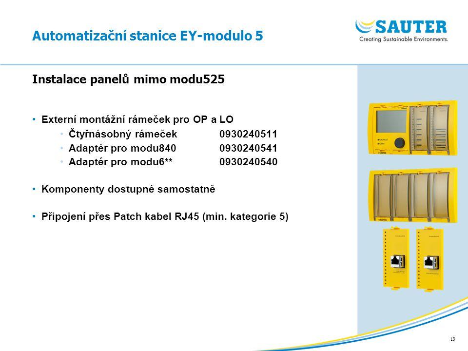19 Externí montážní rámeček pro OP a LO Čtyřnásobný rámeček 0930240511 Adaptér pro modu8400930240541 Adaptér pro modu6**0930240540 Komponenty dostupné