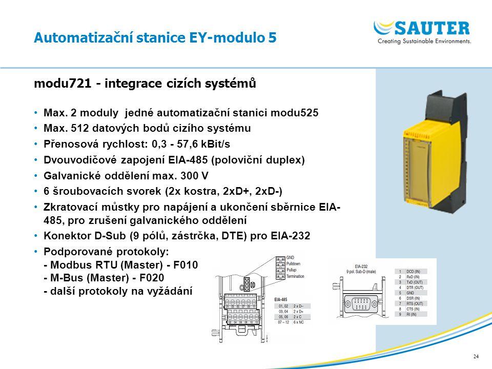 24 modu721 - integrace cizích systémů Automatizační stanice EY-modulo 5 Max. 2 moduly jedné automatizační stanici modu525 Max. 512 datových bodů cizíh
