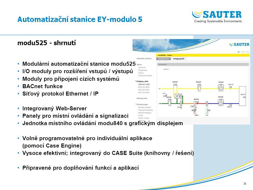 26 Modulární automatizační stanice modu525 I/O moduly pro rozšíření vstupů / výstupů Moduly pro připojení cizích systémů BACnet funkce Síťový protokol