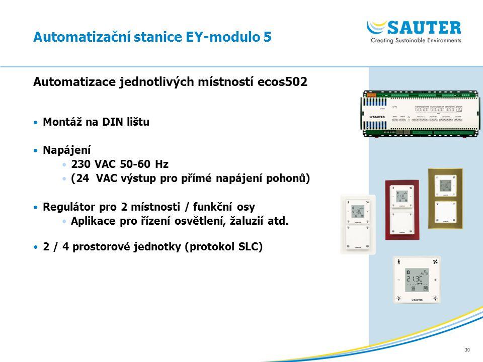 30 Automatizace jednotlivých místností ecos502 Montáž na DIN lištu Napájení 230 VAC 50-60 Hz (24 VAC výstup pro přímé napájení pohonů) Regulátor pro 2