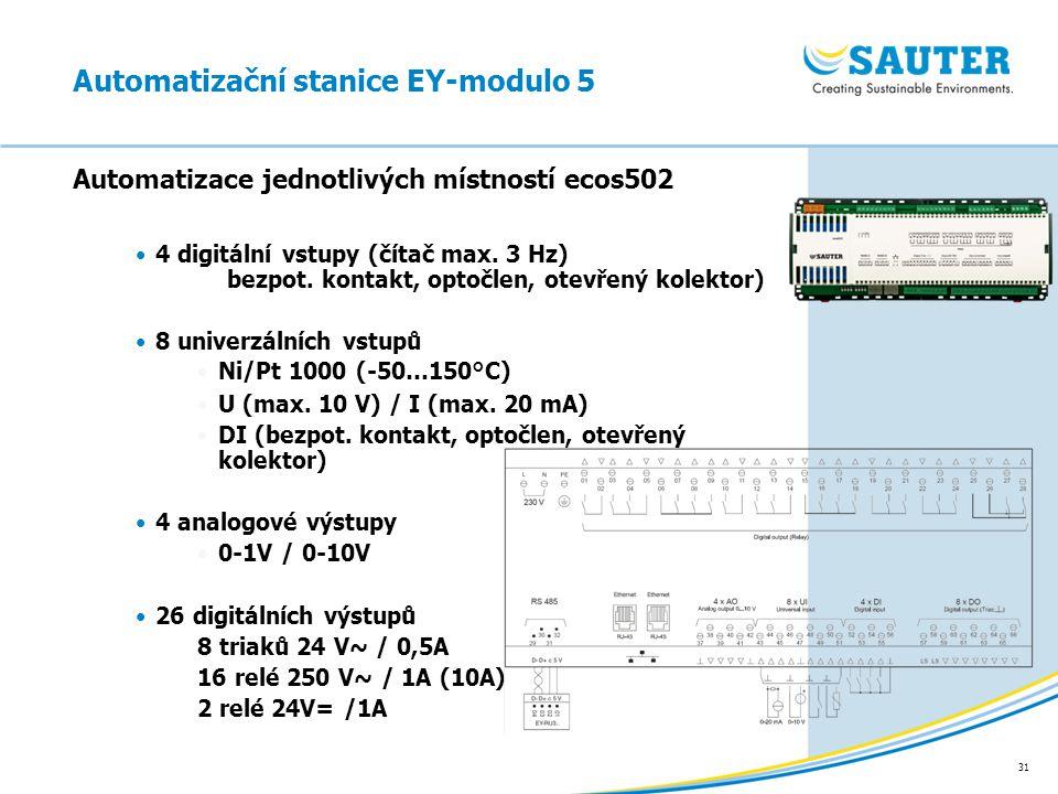 31 Automatizace jednotlivých místností ecos502 Automatizační stanice EY-modulo 5 4 digitální vstupy (čítač max. 3 Hz) bezpot. kontakt, optočlen, otevř