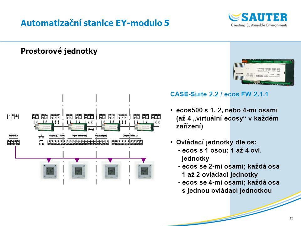 """32 Automatizační stanice EY-modulo 5 Prostorové jednotky CASE-Suite 2.2 / ecos FW 2.1.1 ecos500 s 1, 2, nebo 4-mi osami (až 4 """"virtuální ecosy"""" v každ"""