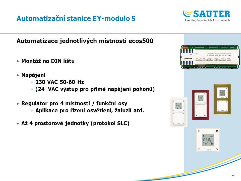 33 Automatizace jednotlivých místností ecos500 Montáž na DIN lištu Napájení 230 VAC 50-60 Hz (24 VAC výstup pro přímé napájení pohonů) Regulátor pro 4