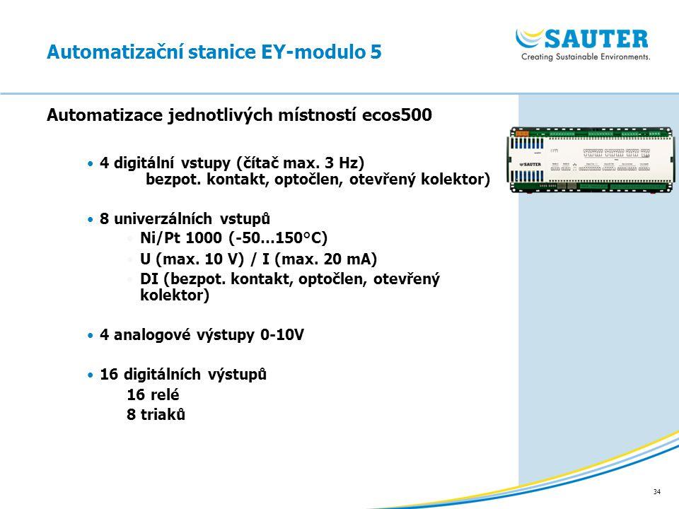 34 Automatizace jednotlivých místností ecos500 Automatizační stanice EY-modulo 5 4 digitální vstupy (čítač max. 3 Hz) bezpot. kontakt, optočlen, otevř
