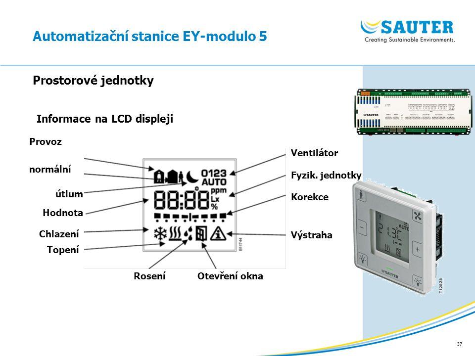 37 Prostorové jednotky Automatizační stanice EY-modulo 5 Ventilátor Fyzik. jednotky Korekce Provoz normální útlum Hodnota Chlazení Topení Výstraha Ote