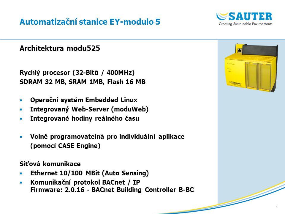 4 Rychlý procesor (32-Bitů / 400MHz) SDRAM 32 MB, SRAM 1MB, Flash 16 MB Operační systém Embedded Linux Integrovaný Web-Server (moduWeb) Integrované ho