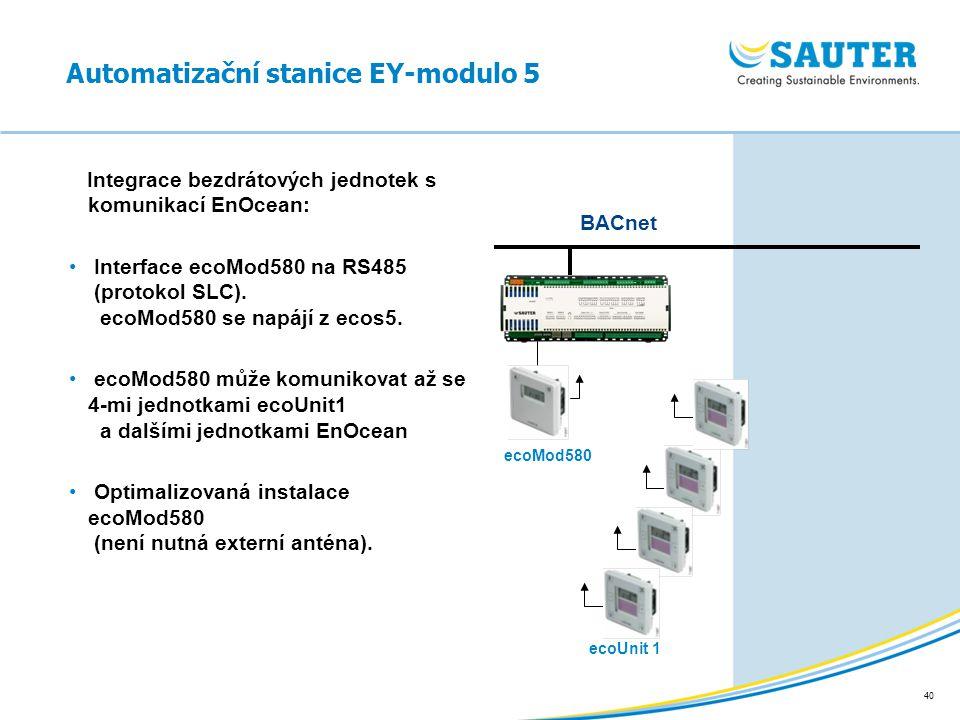 40 Automatizační stanice EY-modulo 5 Integrace bezdrátových jednotek s komunikací EnOcean: Interface ecoMod580 na RS485 (protokol SLC). ecoMod580 se n