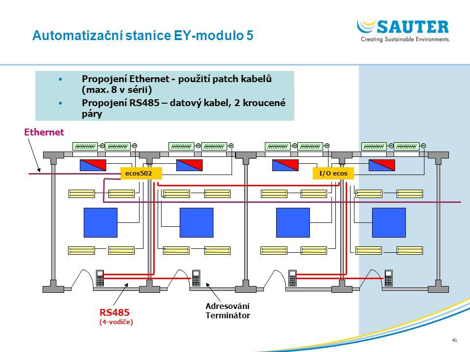 41 Propojení Ethernet - použití patch kabelů (max. 8 v sérii) Propojení RS485 – datový kabel, 2 kroucené páry Automatizační stanice EY-modulo 5