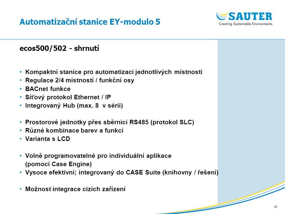 42 Kompaktní stanice pro automatizaci jednotlivých místností Regulace 2/4 místností / funkční osy BACnet funkce Síťový protokol Ethernet / IP Integrov