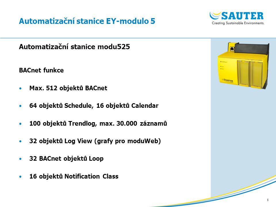 5 BACnet funkce Max. 512 objektů BACnet 64 objektů Schedule, 16 objektů Calendar 100 objektů Trendlog, max. 30.000 záznamů 32 objektů Log View (grafy
