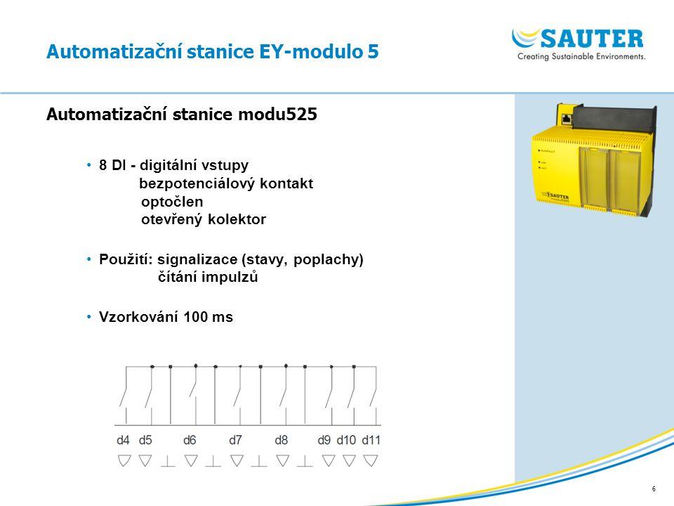 6 8 DI - digitální vstupy bezpotenciálový kontakt optočlen otevřený kolektor Použití: signalizace (stavy, poplachy) čítání impulzů Vzorkování 100 ms A