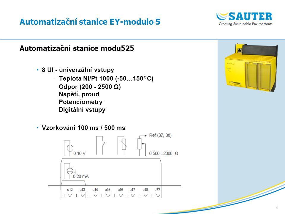 7 8 UI - univerzální vstupy Teplota Ni/Pt 1000 (-50…150°C) Odpor (200 - 2500 Ω) Napětí, proud Potenciometry Digitální vstupy Vzorkování 100 ms / 500 m