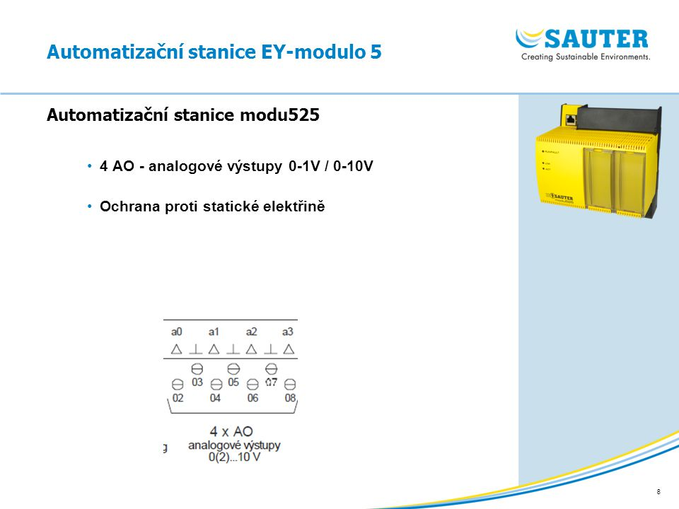 8 4 AO - analogové výstupy 0-1V / 0-10V Ochrana proti statické elektřině Automatizační stanice modu525 Automatizační stanice EY-modulo 5