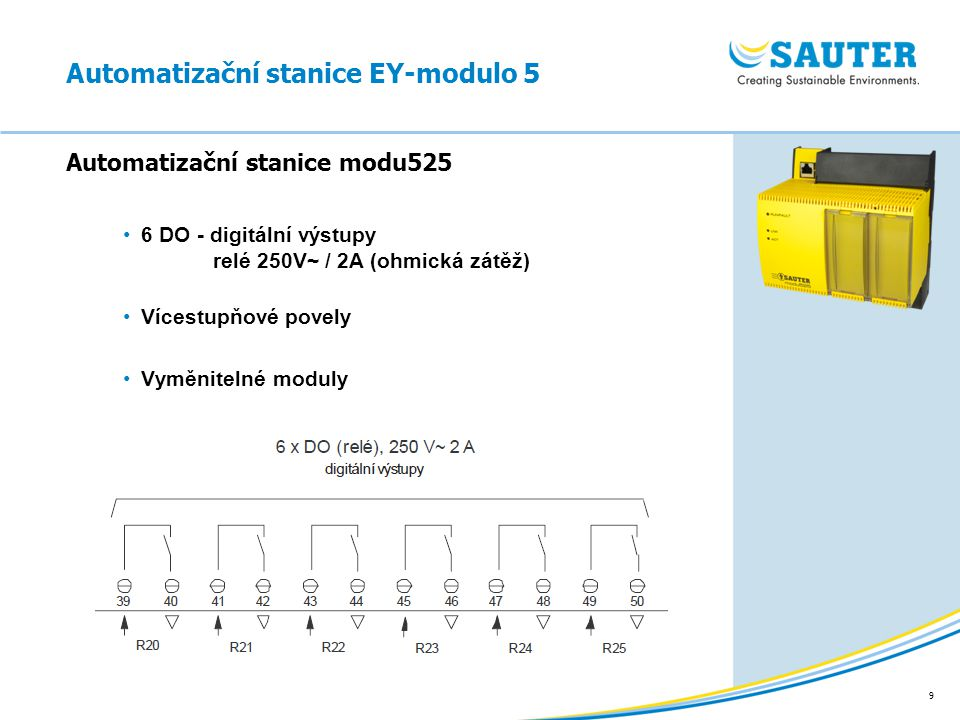 9 6 DO - digitální výstupy relé 250V~ / 2A (ohmická zátěž) Vícestupňové povely Vyměnitelné moduly Automatizační stanice modu525 Automatizační stanice