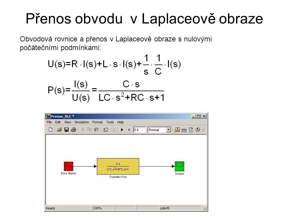 Přenos obvodu v Laplaceově obraze Obvodová rovnice a přenos v Laplaceově obraze s nulovými počátečními podmínkami: