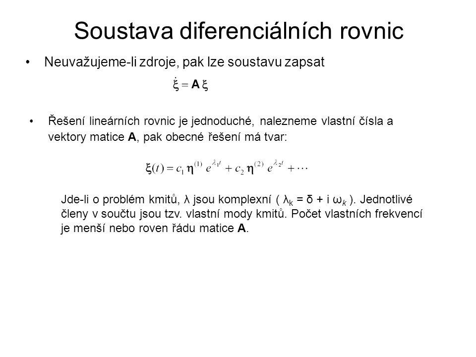 Soustava diferenciálních rovnic Řešení lineárních rovnic je jednoduché, nalezneme vlastní čísla a vektory matice A, pak obecné řešení má tvar: Neuvažu