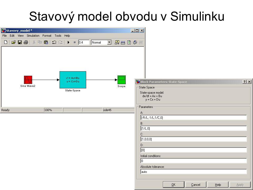 Stavový model obvodu v Simulinku